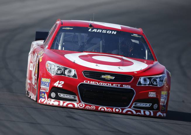 Kyle Larson drives during practice for the NASCAR Sprint Cup Series auto race at Michigan International Speedway in Brooklyn, Mich., Saturday, Aug. 16, 2014. (AP Photo/)