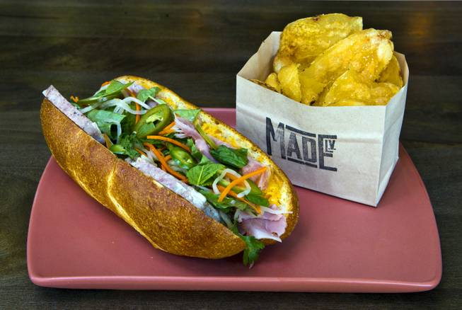 Canteen Banh Mi sandwich from Made L.V. which is a new restaurant opening tonight at Tivoli Village on Monday, August 18, 2014.