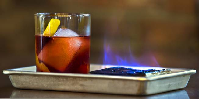 "Specialy drink called ""Number One With A Bulleit"" from Made L.V. which is a new restaurant opening tonight at Tivoli Village on Monday, August 18, 2014."