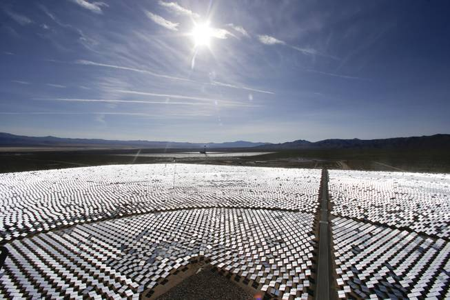 This Feb. 11, 2014 file photo shows some of the 300,000 computer-controlled mirrors, at the Ivanpah Solar ElectirIc Generating System in Primm, Nev. New estimates for the Ivanpah solar plant, an innovative year-old $2.2 billion solar project with Google as a major investor, say thousands of birds are dying yearly, roasted by the concentrated sun rays from the more than 300,000 mirrors.