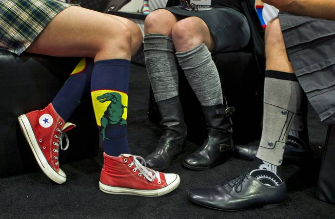 Some of the fun and colorful socks from the Sock Exchange during the MAGIC Marketplace Fall Show at the Las Vegas Convention Center on Tuesday, August 19, 2014.  L.E. Baskow