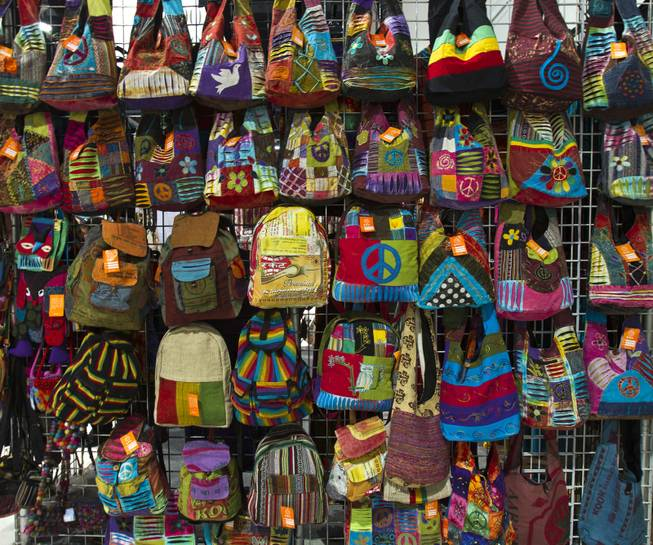 New colorful backpacks abound during the MAGIC Marketplace Fall Show at the Las Vegas Convention Center on Tuesday, August 19, 2014.  L.E. Baskow