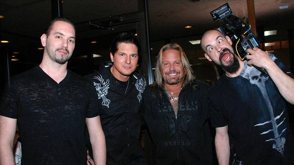 """Ghost Adventures"" on Travel Channel with Nick Groff, Zak Bagans, guest Vince Neil and Aaron Goodwin at the Riviera in Las Vegas."