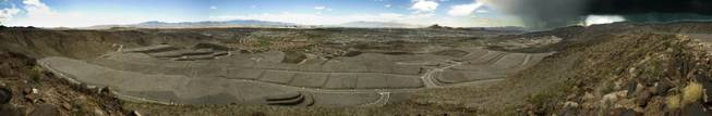 A panoramic view from atop Ascaya now ready for mountain-mansion development with reservations being accepted to begin the purchasing process in Henderson on Wednesday, August 20, 2014.