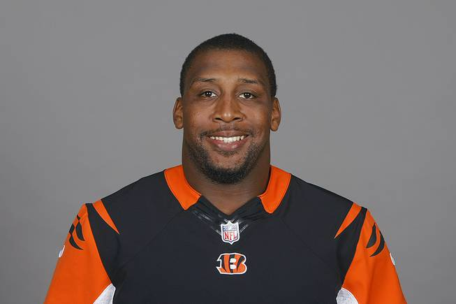 This is a 2014 photo of Sam Montgomery of the Cincinnati Bengals NFL football team. This image reflects the Cincinnati Bengals active roster as of Monday, May 12, 2014 when this image was taken.