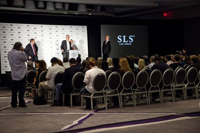Fred Segal speaks during press conference at the SLS alongside of Rob Oseland, Terry Fancher, & Sam Nazarian on Friday, Aug. 22, 2014.