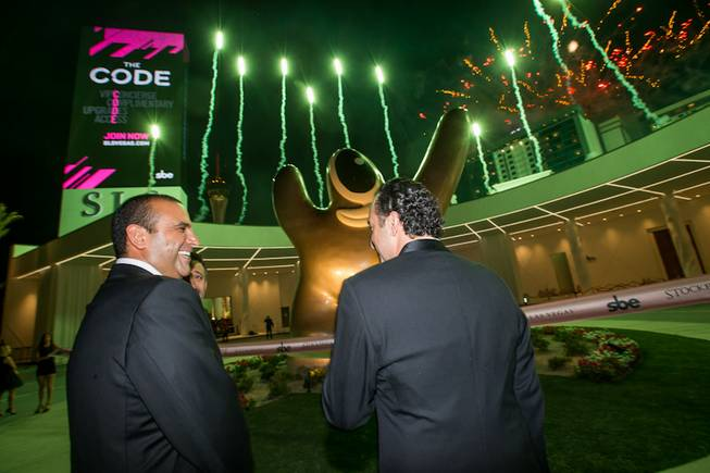 Sam Nazarian, founder, chairman and CEO, SBE, and Sam Bakhshandehpour, president, SBE, at the grand opening of SLS Las Vegas on Friday, Aug. 22, 2014, on the Strip.