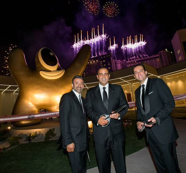 Arash Azarbarzin, president, SBE Hotel Group; Sam Nazarian, founder, chairman and CEO, SBE; and Sam Bakhshandehpour, president, SBE, at the grand opening of SLS Las Vegas on Friday, Aug. 22, 2014, on the Strip.