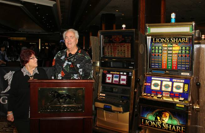 "Linda and Walter Misco of Chester, N.H., won the $2.4 million jackpot from the legendary ""Lion's Share"" slot machine at MGM Grand on Friday, Aug. 22, 2014, on the Strip. The jackpot had not been won in 20 years."