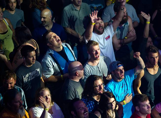 An energetic crowd takes in the Presidents of the United States of America performing at the House of Blues in the Mandalay Bay on Saturday, August 23, 2014.