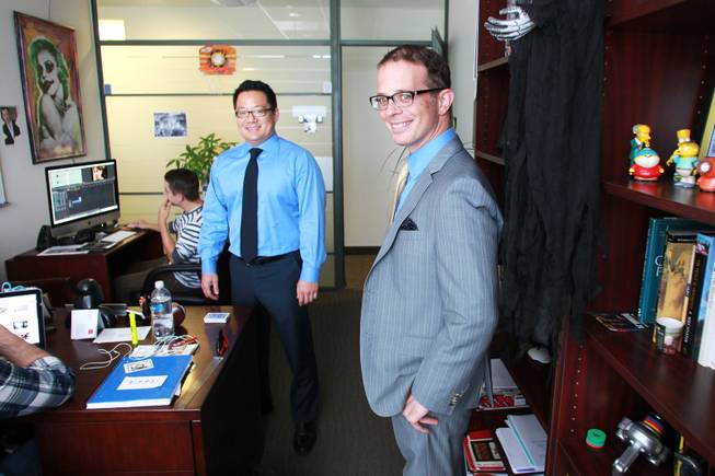 Remark Media CEO Shing Tao and CFO  Doug Osrow in the office of their humor website slaptv.com Wednesday, Aug. 20, 2014