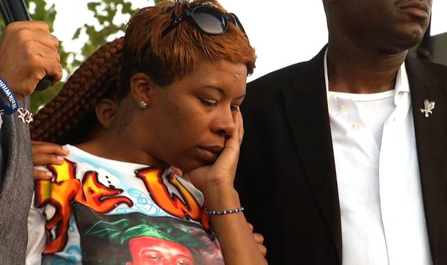 Lesley McSpadden, Michael Brown's mother, appears at Peace Fest, Sunday, Aug. 24, 2014, in St. Louis. Hundreds of people gathered in St. Louis' largest city park Sunday at a festival that promoted peace over violence.