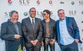 Philippe Starck, Sam Nazarian, Lenny Kravitz and Jose Andres at the grand opening of SLS Las Vegas on Friday, Aug. 22, 2014, on the Strip.