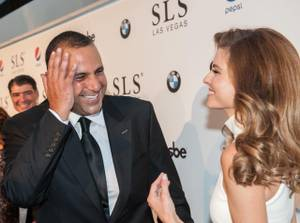 Maria Menounos interviews Sam Nazarian at the grand opening of his SLS Las Vegas on Friday, Aug. 22, 2014, on the Strip.