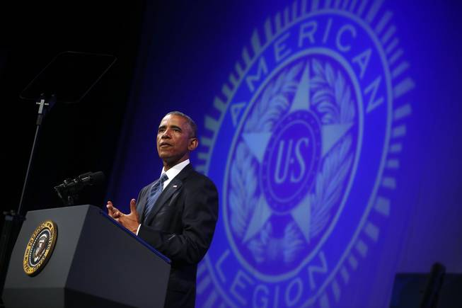 President Barack Obama speaks about veterans issues at the American Legion's 96th National Convention at the Charlotte Convention Center in Charlotte, N.C., Tuesday, Aug. 26, 2014.