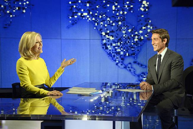 "Diane Sawyer signs off on her last broadcast as anchor of ""World News"" in New York on Wednesday, Aug. 27, 2014. Sawyer told viewers that it has been wonderful to be the ""home port"" of the network's news team each weeknight. David Muir, right, will become anchor and managing editor of the program in September."