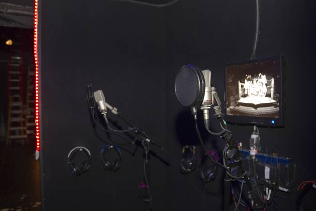 "A vocal booth is shown backstage before a performance of ""Rock Of Ages"" at the Venetian Wednesday, Aug. 27, 2014."