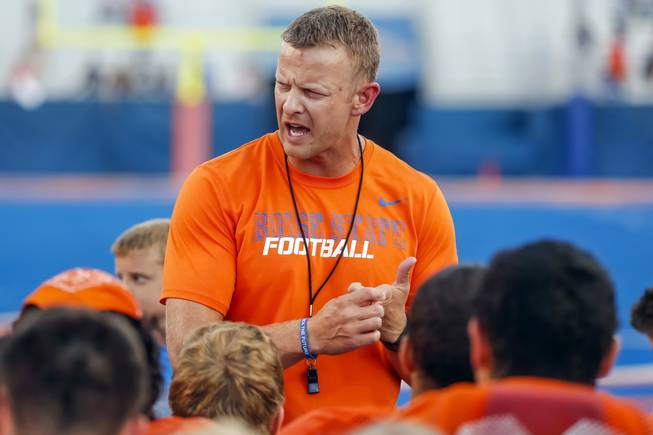First-year Boise State coach Bryan Harsin talks to his team after the Broncos' scrimmage on Friday, Aug. 15, 2014, in Boise, Idaho.