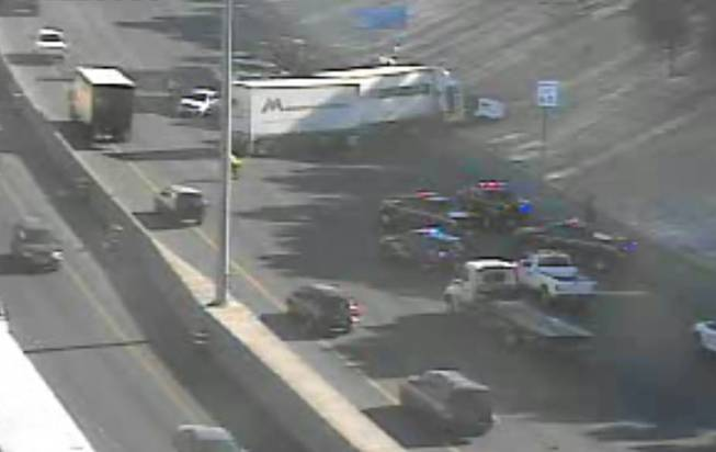 This picture from a Nevada Department of Transportation traffic camera shows a three-vehicle crash blocking traffic on Interstate 15 at Owens Avenue on Thursday, Aug. 28, 2014.