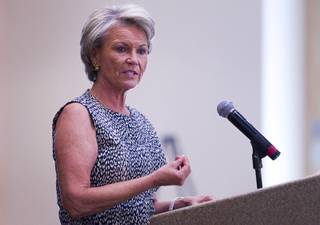 Pat Mulroy, senior fellow at UNLV'S Brookings Mountain West and Desert Research Institute, speaks during the Business of Water Summit 2.0 at the Springs Preserve Thursday, August 28, 2014. Mulroy served as general manager of Southern Nevada Water Authority from 1993 until retiring in Feb. 2014.