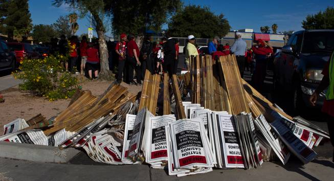 Culinary and Bartenders union members, Station Casino works and local faith leaders are marching from George E. Harris Elementary to Boulder Station to rally in support of fair jobs on Friday, August 29, 2014.
