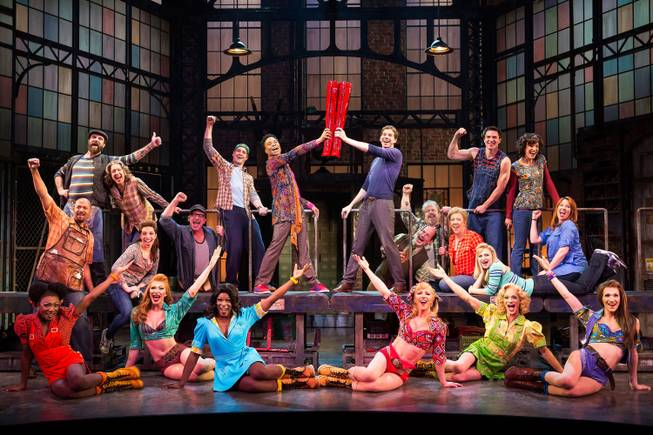 "Shown are members of the Broadway cast of ""Kinky Boots,"" which opens its national tour from Sept. 4-Sept. 14 at Reynolds Hall."