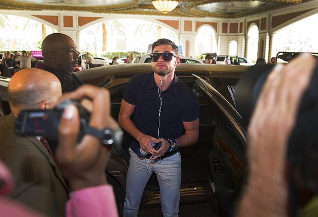 Boxer Chris Algieri of Huntington, N.Y. arrives at the Venetian Saturday, Aug. 30, 2014. Algieri and Manny Pacquiao of the Philippines are on day six of an international tour promoting their WBO welterweight title fight in Macau, China on November 22, 2014.