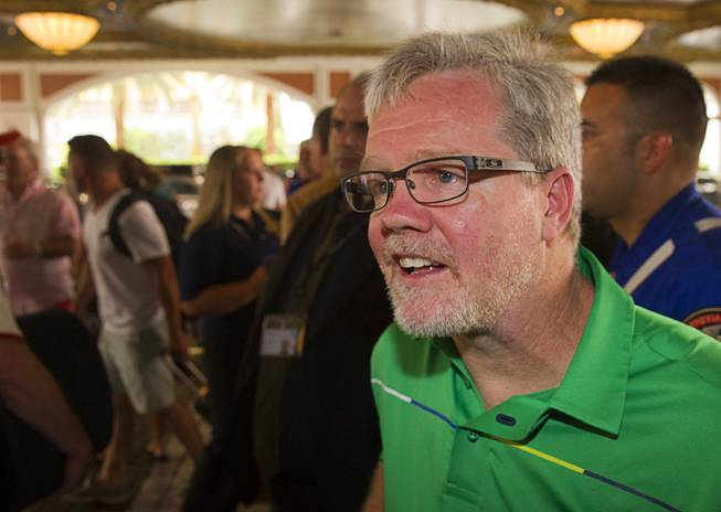 Boxing trainer Freddie Roach arrives at the Venetian Las Vegas Resort in Las Vegas Nevada Aug. 30, 2014. Boxers Manny Pacquiao of the Philippines and Chris Algieri of Huntington, N.Y. are on day six of an international tour promoting their WBO welterweight title fight in Macau, China on November 22, 2014.