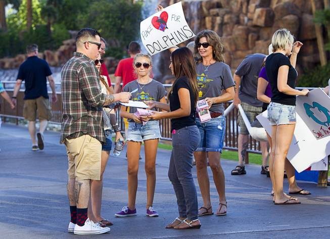 Activist hand out information to passers by during a protest in front of the Mirage Sunday, Aug. 30, 2014. About 30 people came out to protest the annual capture and killing of dolphins in Taiji, Japan.