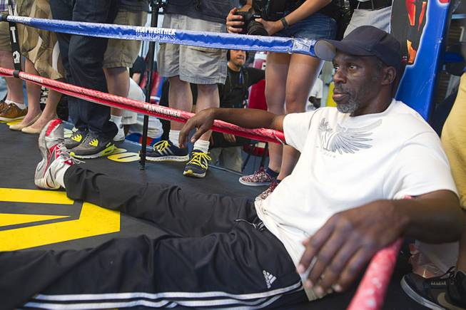 Roger Mayweather, uncle and trainer of  Floyd Mayweather Jr., waits in the ring during a media day at the Mayweather Boxing Club Tuesday, Sept. 2, 2014. Mayweather will face Marcos Maidana of Argentina in a rematch at the MGM Grand Garden Arena on Saturday, Sept. 13.