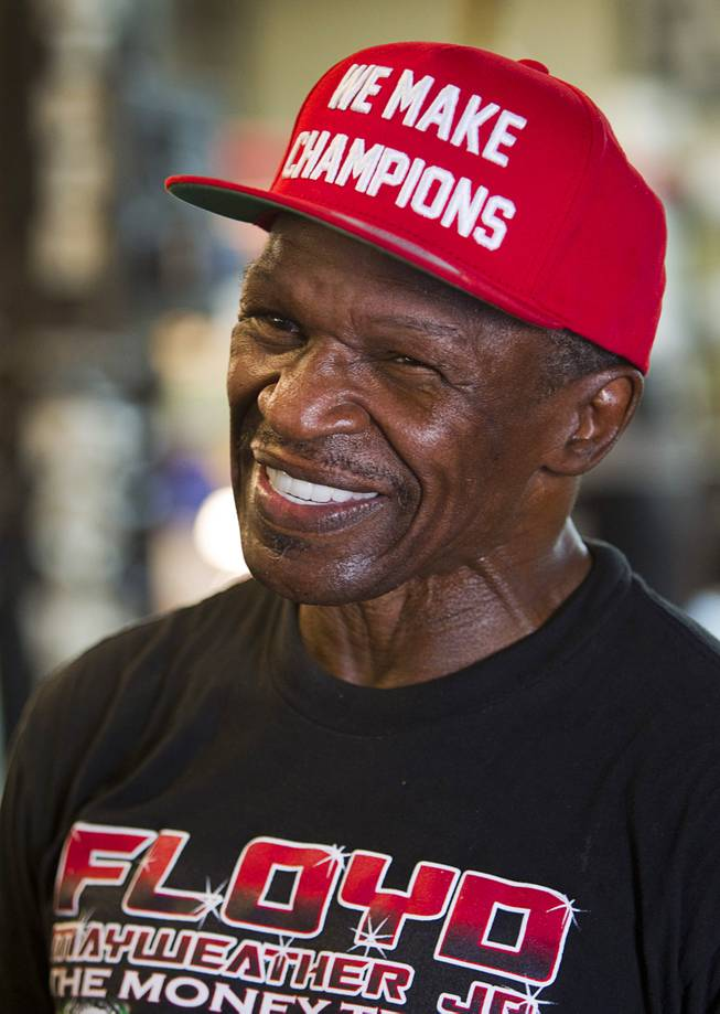 Floyd Mayweather Sr. talks to a reporter as he waits for his son during a media day at the Mayweather Boxing Club Tuesday, Sept. 2, 2014. Mayweather will face Marcos Maidana of Argentina in a rematch at the MGM Grand Garden Arena on Saturday, Sept. 13.