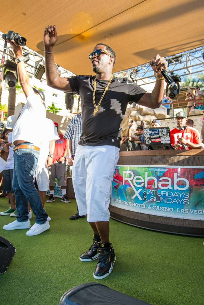 Puff Daddy launches his Pineapple Ciroc vodka with a pool party at Rehab on Sunday, Aug. 31, 2014, at Hard Rock Hotel Las Vegas.
