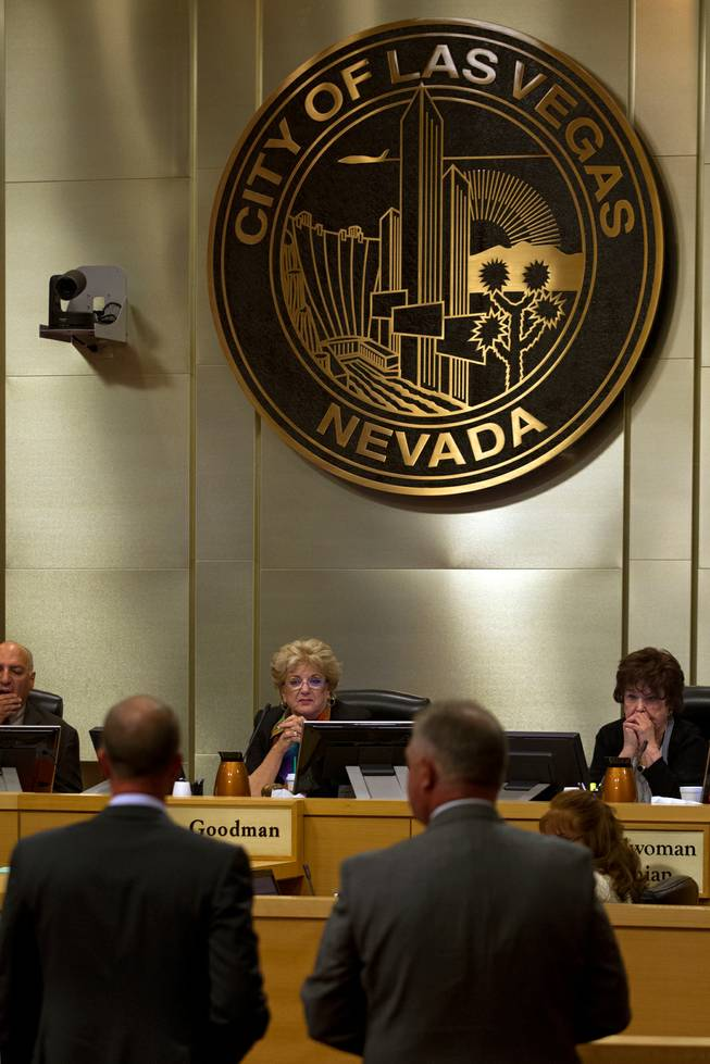 Las Vegas Mayor Carolyn Goodman and others listen to Justin Findlay and Dean House as they address the Las Vegas City Council during a presentation on the proposed downtown soccer stadium on Wednesday, September 3, 2014.