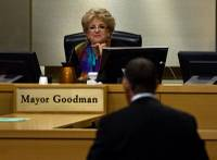 Las Vegas Mayor Carolyn Goodman listens to David Abrams as he addresses the Las Vegas City Council during a presentation on the proposed downtown soccer stadium on Wednesday, Sept. 3, 2014.