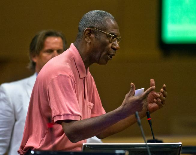 Public speaker Sammy Washington addresses the Las Vegas City Council receives a presentation on the proposed downtown soccer stadium prior to their vote whether to approve financial terms of the deal on Wednesday, September 3, 2014.