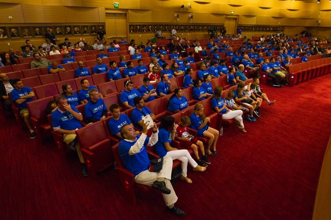 Soccer supporters and others listen in as the Las Vegas City Council receives a presentation on the proposed downtown soccer stadium and votes whether to approve financial terms of the deal on Wednesday, September 3, 2014.