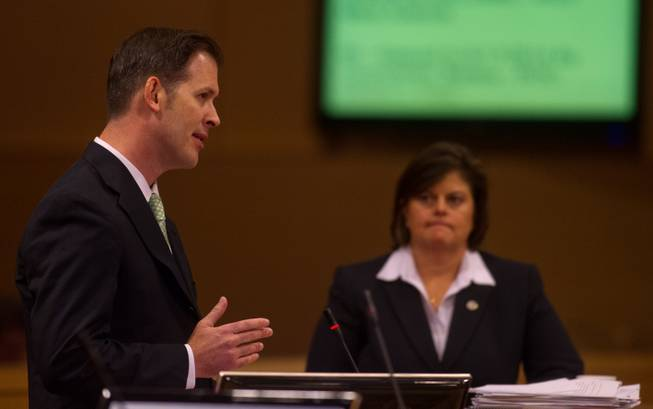 Bill Arent and Betsy Fretwell address the Las Vegas City Council on the proposed downtown soccer stadium before they vote whether to approve financial terms of the deal on Wednesday, September 3, 2014.  Arent is the city economic development director and Fretwell city manager.