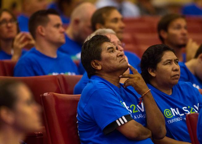 Soccer fans listen as the Las Vegas City Council receives a presentation on the proposed downtown soccer stadium and votes whether to approve financial terms of the deal on Wednesday, Sept. 3, 2014.