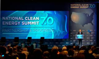 Senate Majority Leader Harry Reid welcomes the crowd back from lunch during the afternoon portion of the Clean Energy Summit at the Mandalay Bay on Thursday, September 4, 2014.