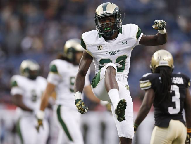 Colorado State defensive back Bernard Blake reacts after stopping a screen pass by Colorado in the first quarter of an NCAA college football game in Denver on Friday, Aug. 29, 2014.