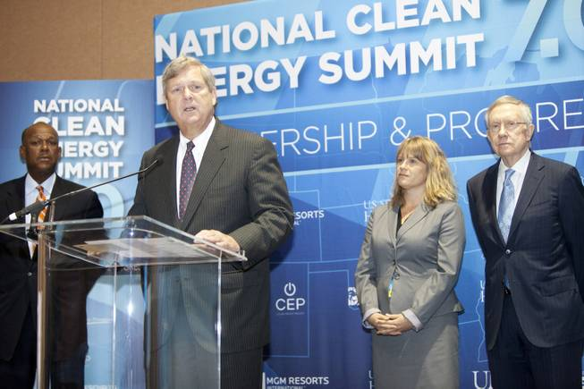 Secretary of Agriculture Tom Vilsack speaks during a press conference announcing the Fulcrum BioEnergy Inc. Sierra BioFuels project during the National Clean Energy Summit 7.0: Partnership & Progress at Mandalay Bay Resort on Thursday, Sept. 4, 2014. Also pictured is Senate Majority Leader Harry Reid, Myron Gray, president of U.S. operation for UPS and Lydia Ball, executive director of Clean Energy Project.
