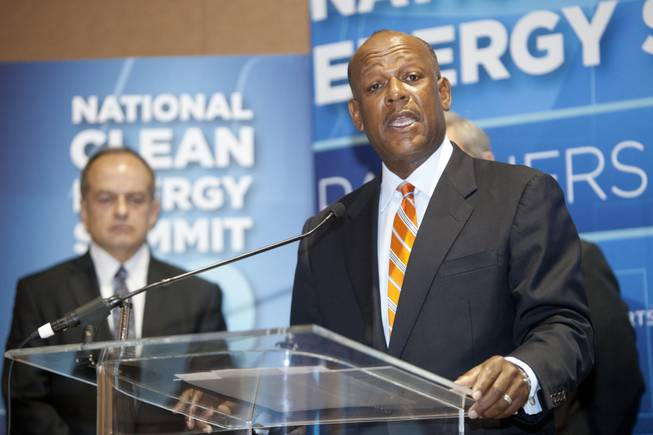 Myron Gray, president of U.S. operation for UPS speaks during a press conference announcing the Fulcrum BioEnergy Inc. Sierra BioFuels project during the National Clean Energy Summit 7.0: Partnership & Progress on Thursday, September 4th at Mandalay Bay Resort & Casino in Las Vegas.