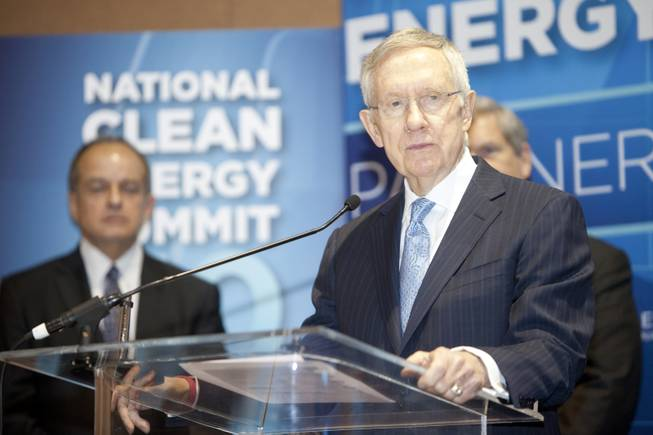 Senate Majority Leader Harry Reid speaks the morning press conference at the National Clean Energy Summit 7.0: Partnership & Progress on Thursday, September 4th at Mandalay Bay Resort & Casino in Las Vegas.