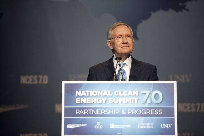 U.S. Senator Harry Reid delivers his opening remarks at the National Clean Energy Summit 7.0: Partnership & Progress on Thursday, September 4th at Mandalay Bay Resort & Casino in Las Vegas.
