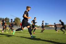 UNLV soccer player Connor Coletti runs drills with teammates during practice at UNLV Thursday, Sept. 18, 2014.