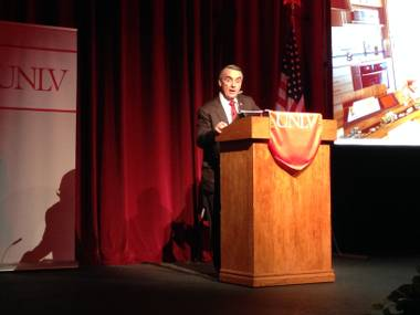 UNLV acting President Don Snyder presents his State of University address at UNLV's Judy Bayley Theatre on Thursday, Sept. 18, 2014.