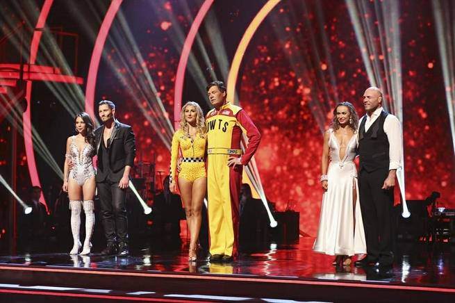 "Janel Parrish, Val Chmerkovskiy, Emma Slater, Michael Waltrip, Karina Smirnoff and Randy Couture await results on Season 19 of ""Dancing With the Stars"" on Tuesday, Sept. 16, 2014, on ABC."