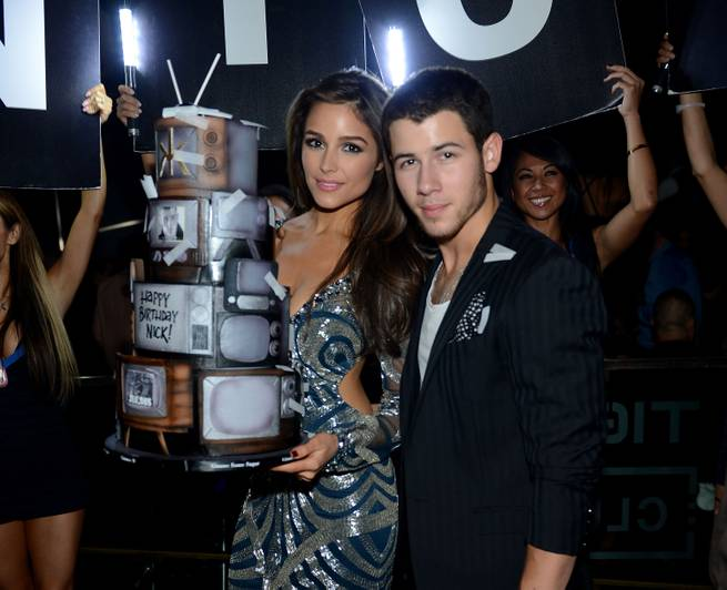 Nick Jonas, with girlfriend 2012 Miss Universe Olivia Culpo of the USA, celebrates his 22nd birthday at Hakkasan on Friday, Sept. 19, 2014, in MGM Grand Las Vegas.
