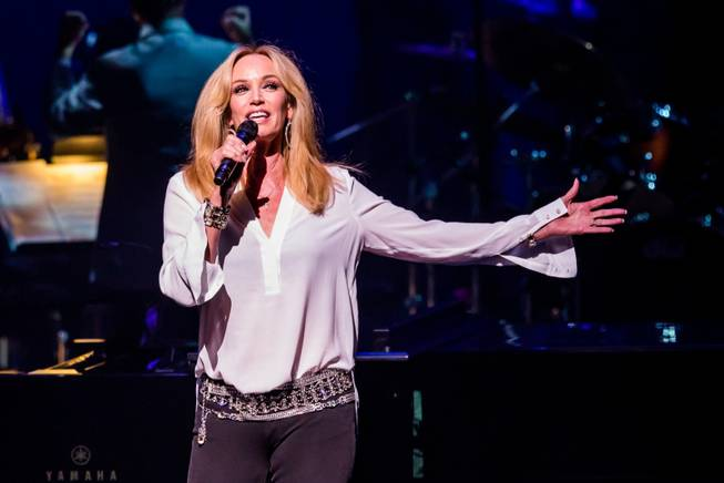Susan Anton addresses the audience during the Nevada Sesquicentennial All-Star Concert on Monday, Sept. 22, 2014, at the Smith Center for the Performing Arts in downtown Las Vegas.