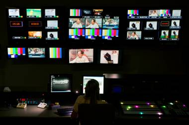 "Control room during the production of ""Homework Hotline"" which is a Vegas PBS program where two math teachers Andrew Lenselink of Valley High and Andrew Sullivan of Johnson Junior High help kids live on TV with their homework Wednesday, September 24, 2014."